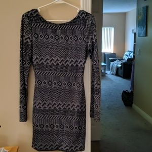 Navy Blue and Silver Bodycon Dress